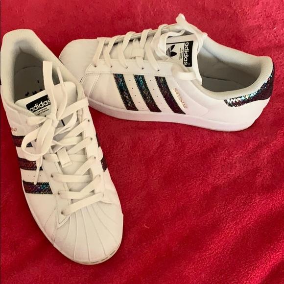 Adidas superstar snake skin sneakers
